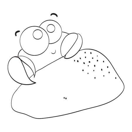 Cute crab vector illustration.  Black and white illustration for coloring book.  イラスト・ベクター素材