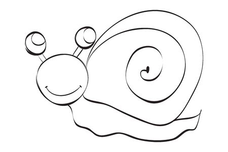 hand drawn cute snail illustration.  Black and white illustration for coloring book.