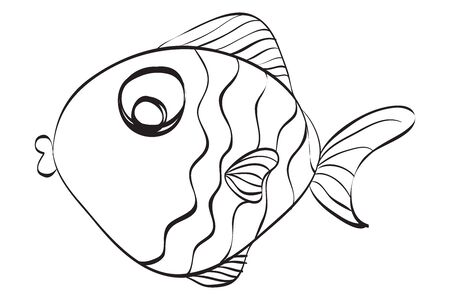 hand drawn cute fish illustration. Black and white illustration for coloring book.
