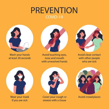 Prevent flu set. COVID-19 protection for infographic in a circle. Wear a mask, do not touch face, cover coughing and sneezing, wash hands. crowd places. close contact. prevention vector illustration. Çizim