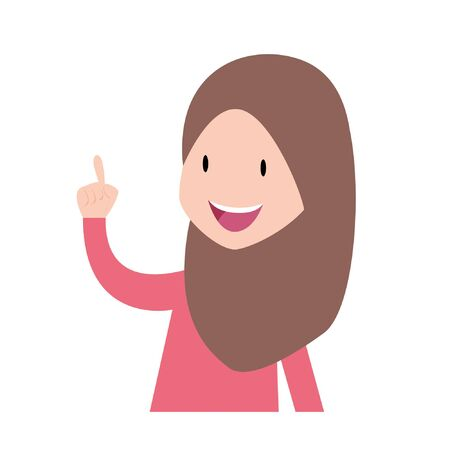muslim student understands problem and finds successful solution, vector cartoon characters illustration. young woman pointing upwards. Vecteurs
