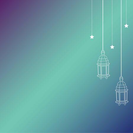 Eid灯笼背景。斋月kareem背景