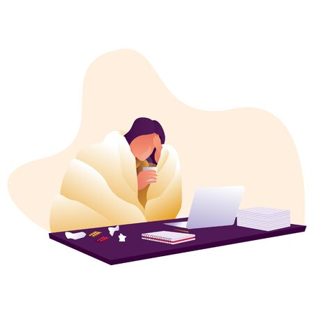 a woman gets work overtime when sick. sick woman wearing blanket and holding a cup. illustration woman have a cold work with laptop.