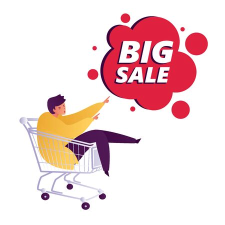 Young happy woman int the shopping trolley showing hand gesture copy space to present Big Sale discount. Presentation, advertisement, introduce concept illustration in vector flat style.