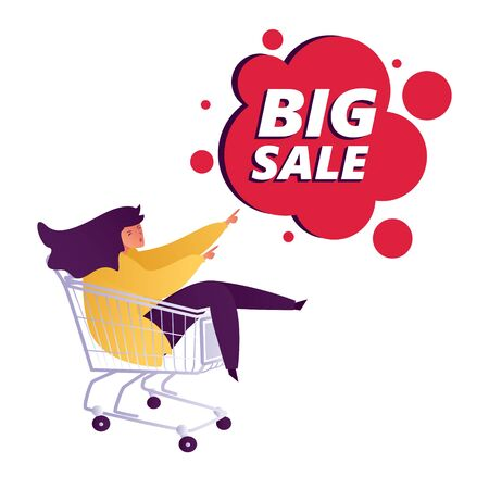 Young happy man int the shopping trolley showing hand gesture copy space to present Big Sale discount. Presentation, advertisement, introduce concept illustration in vector flat style.
