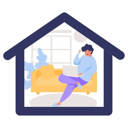 stay at home illustration. people stay at home with laptop and do video conference. awareness social media campaign and covid-19 prevention. quarantine motivational poster. Vetores