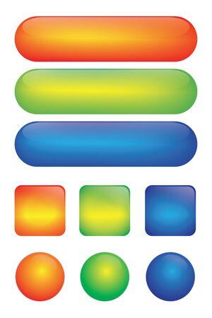 Boutons brillants web vierges pour l'icône. Ensemble d'icônes web colorées. bouton carré, bulles web. rouge, vert, bleu. Vecteurs