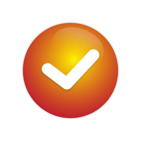 Tick Button. Red glossy button with tick sign. exit red circle web glossy icon. check button for right sign.