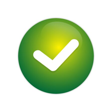 Tick Button. Green glossy button with tick sign. exit green circle web glossy icon. check button for right sign.