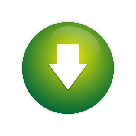 Download button. Glossy button with arrow download sign. arrow down circle web glossy icon.