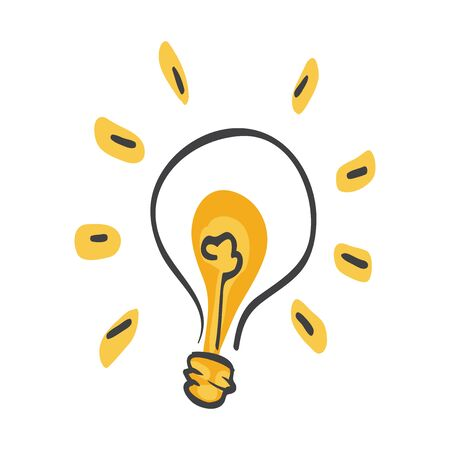 Idea. Light bulb with rays shine. Energy and idea symbol. full of ideas and creative thinking, analytical thinking for processing. Lamp. Иллюстрация