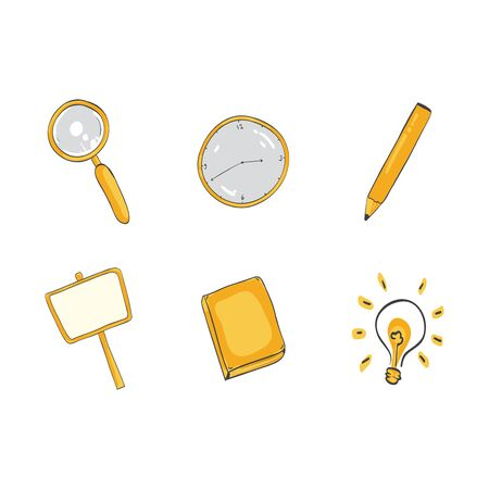 Education hand draw integrated icons set. Back to school seamless and cute illustration.