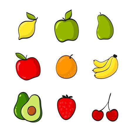 Fruits collection set (Lemon, Apple, Pear, Orange, Banana, Avocado, Strawberry, Cherry). Fruits Cartoon Vector Illustration isolated on white background.