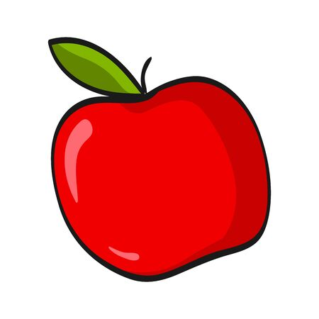 Cartoon green apple isolated on white background. Fresh Fruits Illustration.
