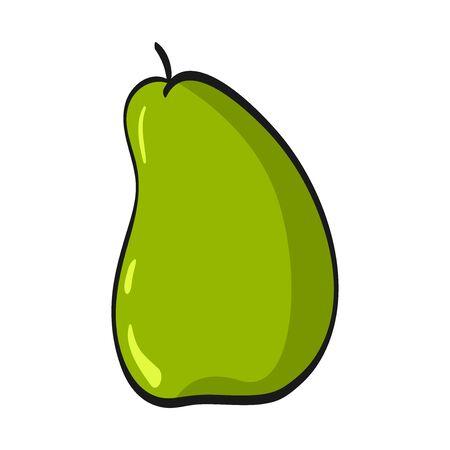 Cartoon pear isolated on white background. Fresh Fruits Illustration.