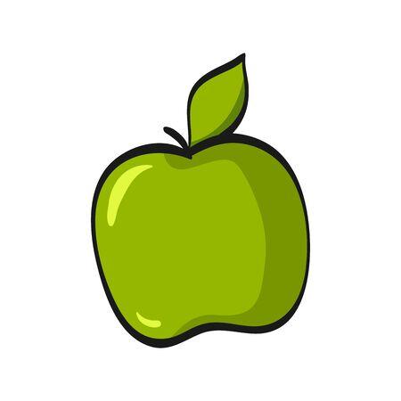 Cartoon green apple isolated on white background. Fresh Fruits Illustration.  イラスト・ベクター素材