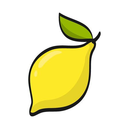 Cartoon lemon isolated on white background. Fresh Fruits Illustration.