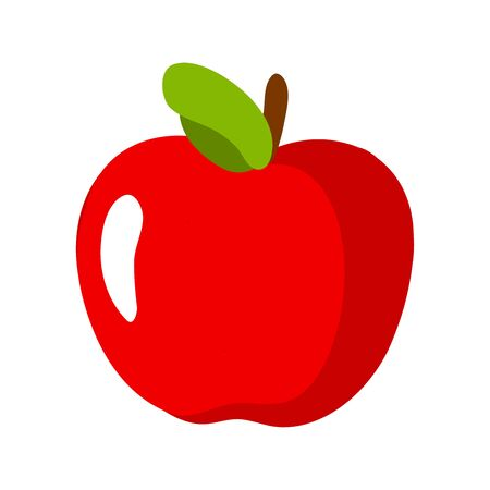 Cartoon apple isolated on white background. Fresh Fruits Illustration.
