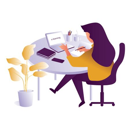 E-Learning concept. creative illustration of business graphics, distance learning, online courses and business, education, online books and tutorials, preparation for exams, home schooling.