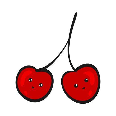Cute Cherry. Funny Flat Cartoon Happy Yummy Fruits icons clip art vector illustration on white.