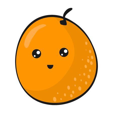 Cute Orange. Funny Flat Cartoon Happy Yummy Fruits icons clip art vector illustration on white.