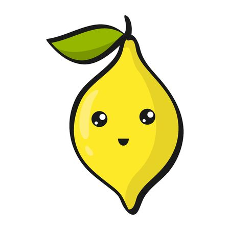 Cute Lemon. Funny Flat Cartoon Happy Yummy Fruits icons clip art vector illustration on white.
