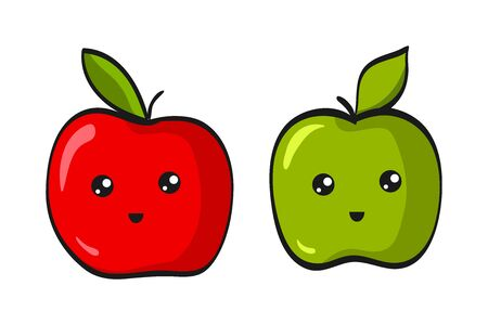 Cute Apple. Funny Flat Cartoon Happy Yummy Fruits icons clip art vector illustration on white.