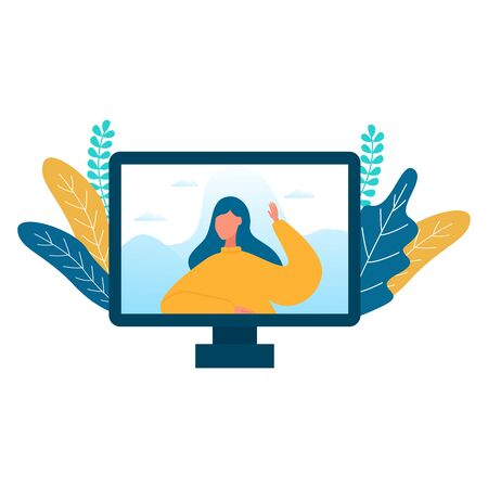 Vector illustration for Video conferencing, online meeting and technology concept. Teleconference for work from home and self quarantine.