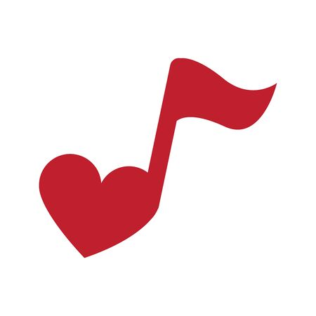 Musical note heart shape. logo illustration for mobile concept and web design. Music note with love outline icon. Stock Illustratie