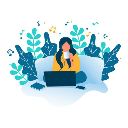 Love Music. A Woman illustration listening to music from laptop while drinking coffee. Quarantine, stay at home concept series - people sitting at their home, room or apartment.