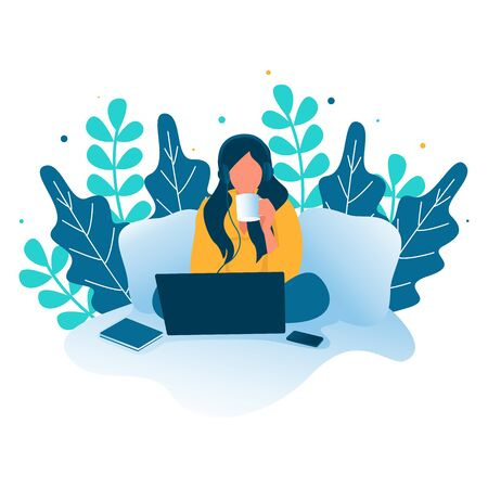 A Woman illustration listening to music from laptop while drinking coffee. Quarantine, stay at home concept series - people sitting at their home, room or apartment. Vettoriali