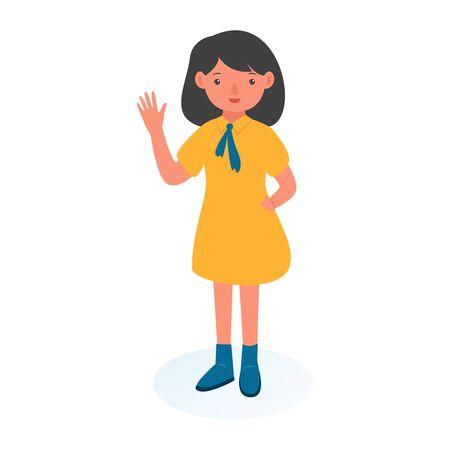 Illustration Girl Raising Hand Upwards. student illustration. little girl. Vector sketch cartoon illustration isolated on white background.