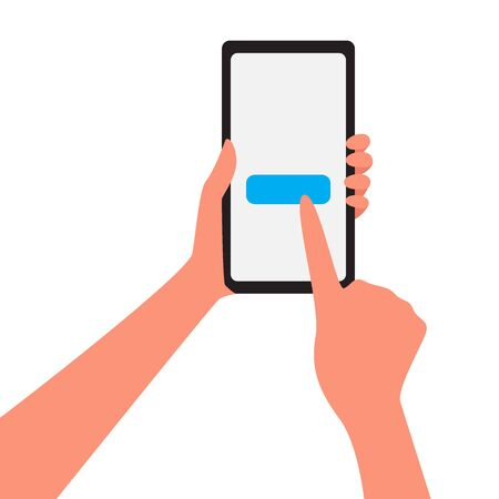 Hand holding a smartphone and click button. vector cartoon illustration isolated on white background. Mobile store concept illustration with hand that makes purchases on mobile phone Stock Illustratie