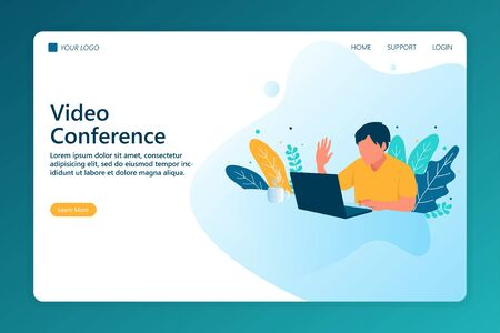 Video Conferencing concept for landing page. Creative landing page website design concept create your website with easy way.