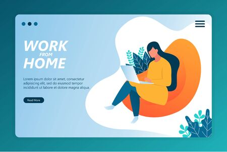 Flat illustration work from home on landing page template