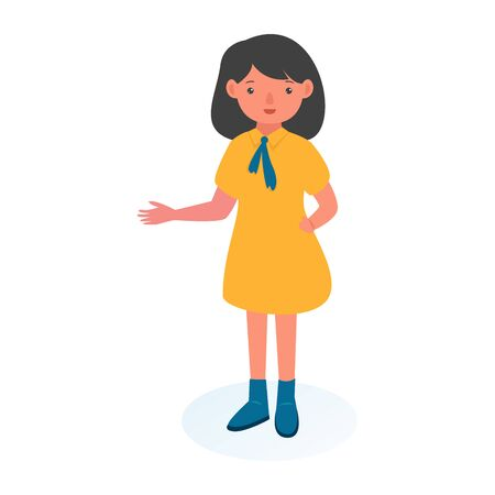 illustration girl showing hand gesture copy space to present or introduce something. Presentation, advertisement, introduce concept illustration in vector cartoon style.