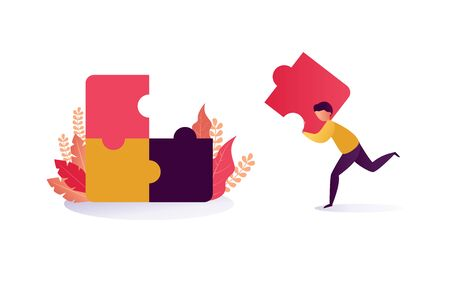 Business solution vector concept: Businessman lifting a jigsaw puzzle piece.  illustration of hard workers to achieve success Stock Illustratie