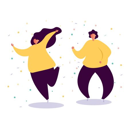 young people dancing at club. Big set of characters having fun at party. Flat colorful vector illustration Stock Illustratie