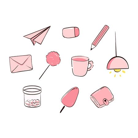 cute pink sticker set of paper plan, eraser, pencil, mail, candy, coffee, lamp, light bulb, ice cream, wallet.