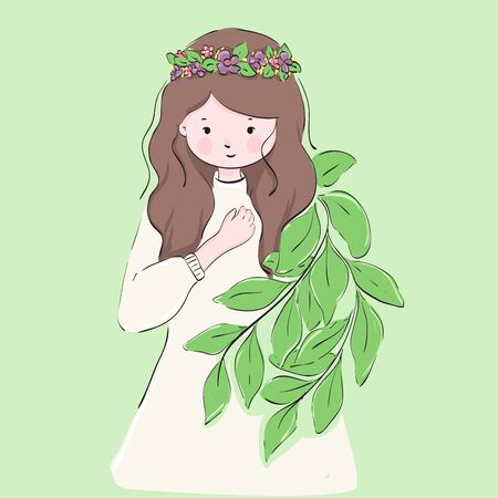 illustration of forest princess. cute forest princess use flower Crown on her head.