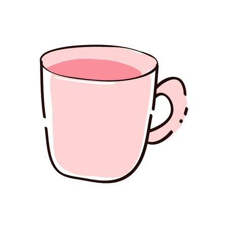 hand drawn cute a cup of coffee. kawaii food sticker. pink coffee cartoon illustration.