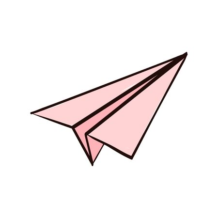 pink airplane paper sticker. airplane paper isolated in white background.