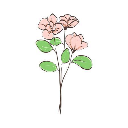pink flower bucket illustration isolated on white background  イラスト・ベクター素材