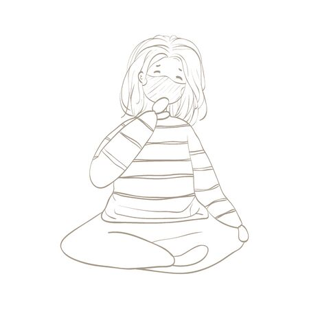 young woman sick and wearing mask. Illustration hand drawn sketch.
