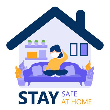 stay safe, stay at home illustration. a people stay at home awareness social media campaign and covid-19 prevention: woman wearing mask and staying at home. quarantine motivational poster.