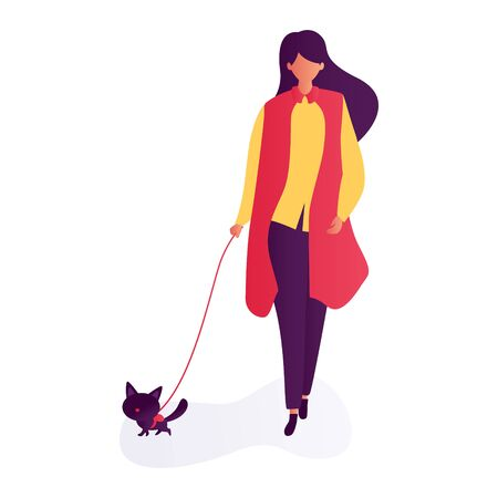 woman walking wit pet. illustration of people and cat. Happy, funny people playing, love and taking care of kittens, pet animals in flat cartoon style.