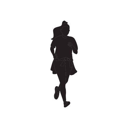 Running woman, abstract vector silhouette.  イラスト・ベクター素材