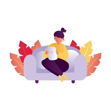 Girl girl sitting and resting on the couch with a tablet. Daily life and everyday routine scene by young woman in home. Cartoon vector illustration. stay at home and working at home.