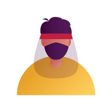 Illustration people wearing mask and face shield for cover his face for droplets. face shield icon.