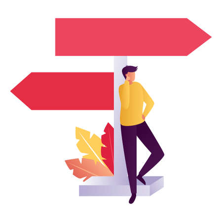 Businessman makes a choice. Choice process flat vector illustration. Direction choose options, solution, decision. Abstract confuse concept, confusion symbol.